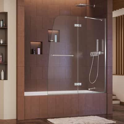 Aqua Ultra 48 in. x 58 in. Semi-Frameless Pivot Tub/Shower Door in Chrome