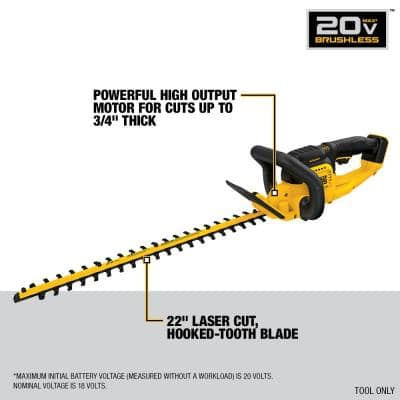 22 in. 20-Volt MAX Lithium-Ion Cordless Hedge Trimmer (Tool Only) w/ FLEXVOLT 60-Volt Cordless Axial Blower (Tool Only)