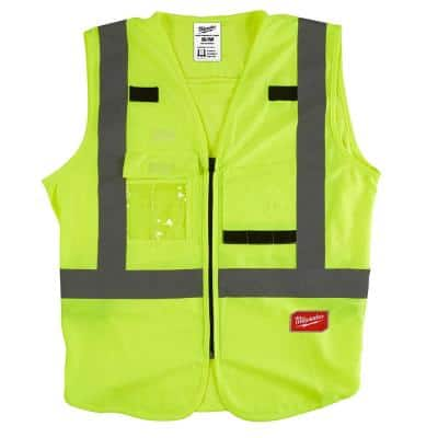 Small/Medium Yellow Class 2 High Visibility Safety Vest with 10 Pockets