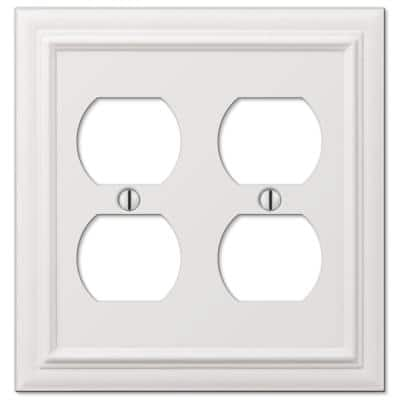 Continental 2 Gang Duplex Metal Wall Plate - White