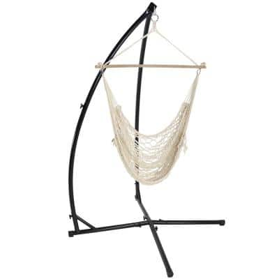 3.75 ft. L Hanging Cotton Rope Hammock Chair Swing and X-Stand Set in Natural
