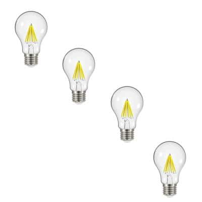 60-Watt Equivalent A19 Dimmable Clear Filament Vintage Style LED Light Bulb Soft White (4-Pack)