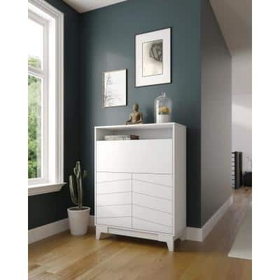 35.8 in. Rectangular White Secretary Desks with Built-In Storage