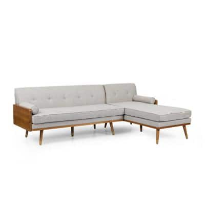 Fluhr 2-Piece Beige Fabric 3-Seat L Shaped Right Facing Sectionals with Chaise