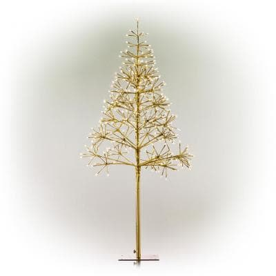53/61 in. Tall Indoor/Outdoor Artificial Christmas Tree with Warm White LED Lights, Gold