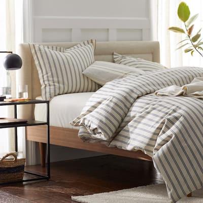 Narrow Stripe Cotton Percale Duvet Cover