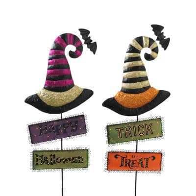37 in. Metal Witch's Hats with Halloween Signs Yard Stake (Set of 2)