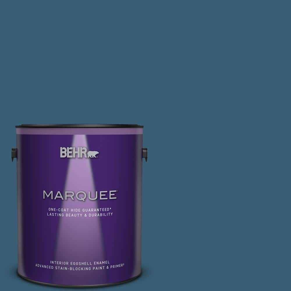 Behr Marquee 1 Gal S490 7 Superior Blue One Coat Hide Eggshell Enamel Interior Paint Primer 245301 The Home Depot