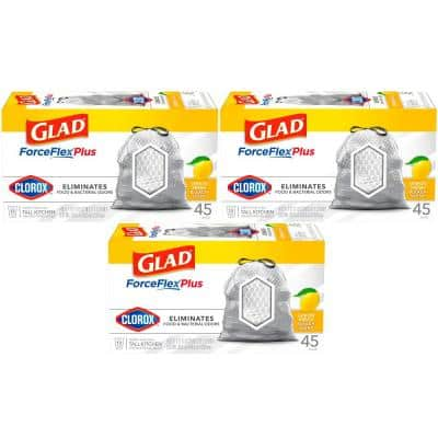 ForceFlex Plus 13 Gal. Lemon Fresh Bleach Scent Grey Kitchen Drawstring Trash Bags with Clorox (45-Count, 3-Pack))