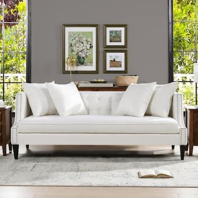 Caroline 82 in. Antique White Linen 3-Seater Tuxedo Sofa with Nailheads