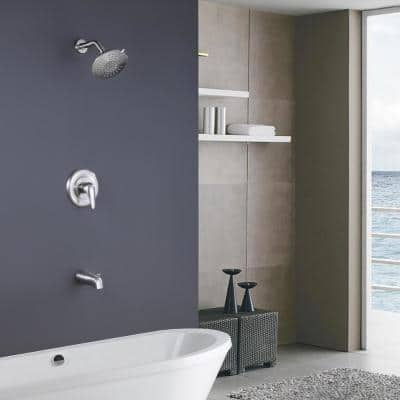 Single-Handle 5-Spray Tub and Shower Faucet with 2 GPM 6 in. Shower Head in Brushed Nickel (Valve Included)