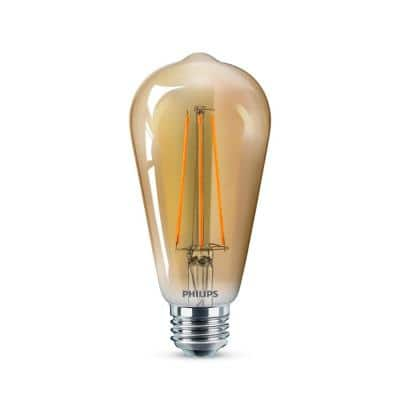 40-Watt Equivalent ST19 Dimmable Vintage Glass Edison LED Light Bulb Amber Warm White (2000K) (1-Bulb)