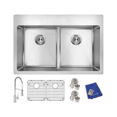 Crosstown Stainless Steel 33 in. Equal Double Bowl Dual Mount Kitchen Sink Kit with Faucet and Aqua Divide