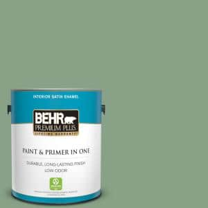 Behr Premium Plus 1 Gal S410 5 Track Green Satin Enamel Low Odor Interior Paint And Primer In One 740001 The Home Depot