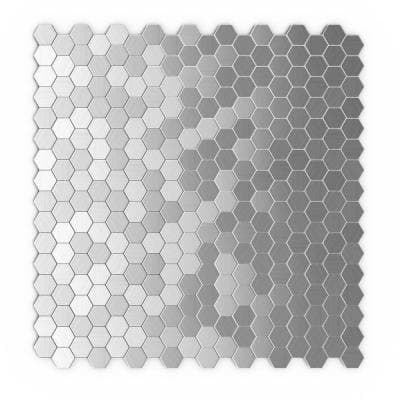 Take Home Sample - Hexagonia S2 Stainless Steel 4 in. x 4 in. Metal Peel and Stick Wall Mosaic Tile (0.11 sq.ft.)