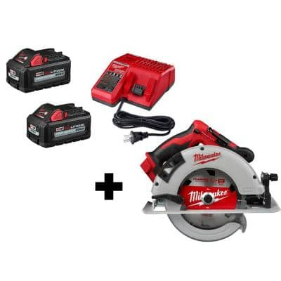 M18 18-Volt Lithium-Ion Brushless Cordless 7-1/4 in. Circular Saw with (2) 6.0 Ah Batteries and Charger