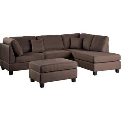 Madrid Chocolate Polyester 6-Seater L-Shaped Reversible Sectional Sofa with Ottoman