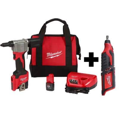 M12 12-Volt Lithium-Ion Cordless Rivet Tool Kit with (2) 1.5Ah Batteries and Charger and M12 Rotary Tool