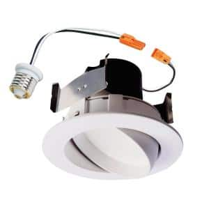 RA 4 in. White Integrated LED Recessed Ceiling Light Fixture Adjustable Gimbal Retrofit Trim, 90 CRI, 3000K Soft White