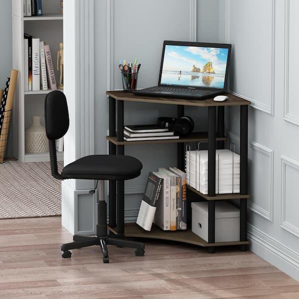 Corner Walnut Black Computer Desk With, Corner Tower Computer Desk
