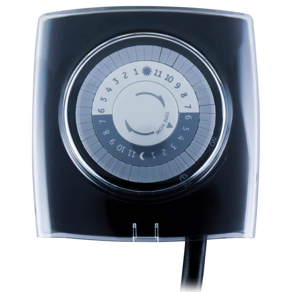 Defiant 15 Amp 24 Hour Outdoor Plug In Extreme Weather Mechanical Timer Black 49813 The Home Depot