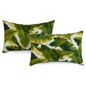 Palm Leaves White Lumbar Outdoor Throw Pillow (2-Pack)
