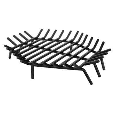30 in. W x 30 in. D Black Cast Iron Hexagon Shape Bar Fireplace Grate