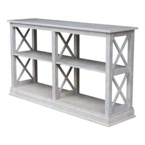 Hampton 60 in. Weathered Gray Standard Rectangle Wood Console Table with Shelves