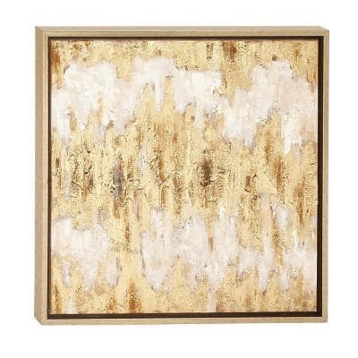 """Square Metallic Gold Leaf Contemporary Abstract Painting in Metallic Gold Wood Frame, 24"""" x 24"""""""