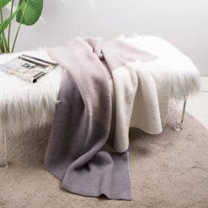 60 in. L x 50 in. W, 965g Knitted Polyester Feather Yarn Tricolor Throw Blanket