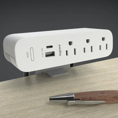 Wiremold ModPower 10 ft. Cord White 3-Outlet Primary Unit Surface Mount Power Strip with USB A/C