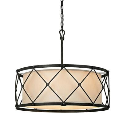 Palisade 6-Light Aged Pewter 29 in. W Pendant with Hardback Linen Shade
