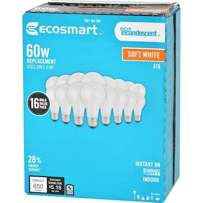60-Watt Equivalent A19 Dimmable Halogen Light Bulb Soft White (16-Pack)