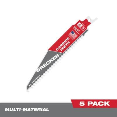 6 in. 6 TPI WRECKER Carbide Teeth Multi-Material Cutting SAWZALL Reciprocating Saw Blade (5-Pack)