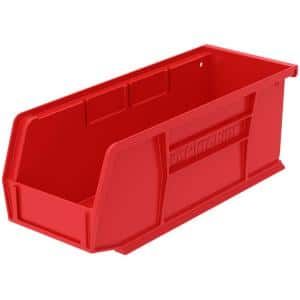 AkroBin 4.1 in. 10 lbs. Storage Tote Bin in Red with 0.2 Gal. Storage Capacity