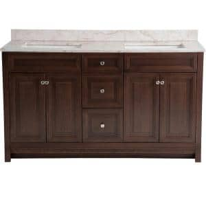 Brinkhill 61 in. W x 22 in. D Bathroom Vanity in Cognac with Stone Effects Vanity Top in Dune with White Sink