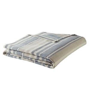 Herringbone 1-Piece Blue Cotton Woven Full/Queen Blanket