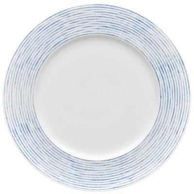 Blue/White Hammock Porcelain Stripes Rim Dinner Plate 11 in.