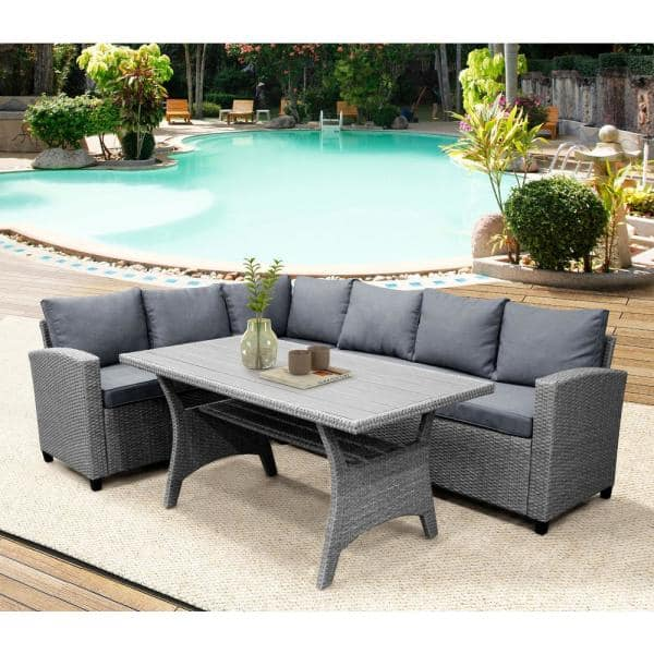 Mondawe Grey Patio Outdoor Dining, Outdoor Sectional Couch With Dining Table