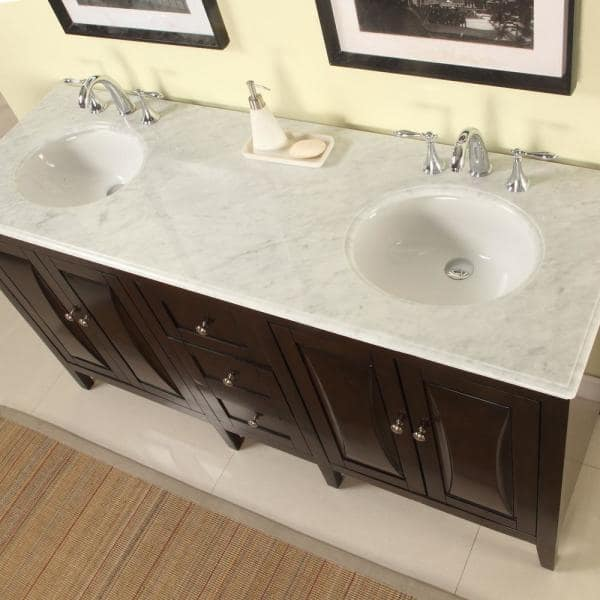 Silkroad Exclusive 68 In W X 22 In D Vanity In Dark Walnut With Marble Vanity Top In Carrara White With White Basin Fs0269wmuwc68 The Home Depot