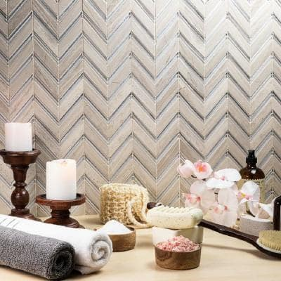 Royal Herringbone Sand 10-1/2 in. x 12 in. x 10 mm Polished Marble Mosaic Tile