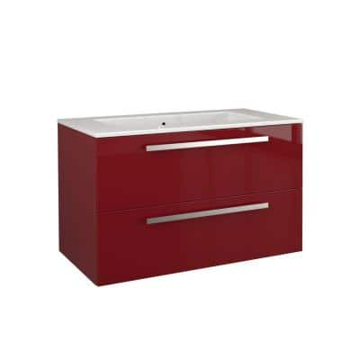 Ambra 34 in. Vanity in Glossy Red with Tekorlux Vanity Top in White with White Basin