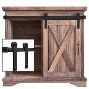 3 ft./36 in. Super Mini Sliding Barn Door Hardware for Single Door TV Stands Small Wardrobe Cabinets (I Shape Hanger)