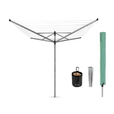 116 x 116 Inch Retractable Outdoor Rotary Clothesline Lift-O-Matic with Ground Spike, Peg Bag, Protective Cover and Pegs