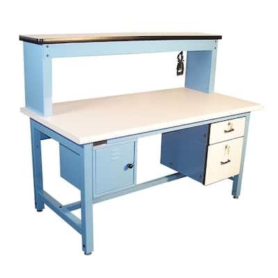 Bench in a Box 72 in. Rectangular Light Blue/White 2 Drawer Computer Desks with Locking Storage