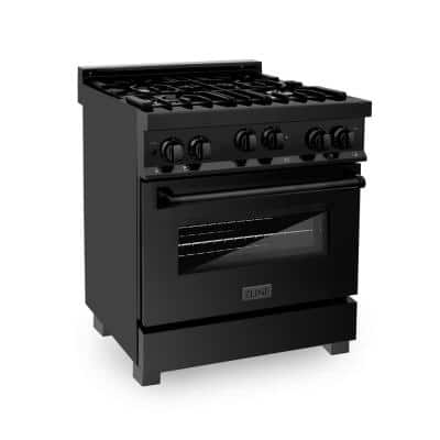 30 in. 4.0 cu. ft. Gas Range with Convection Gas Oven in Black Stainless Steel