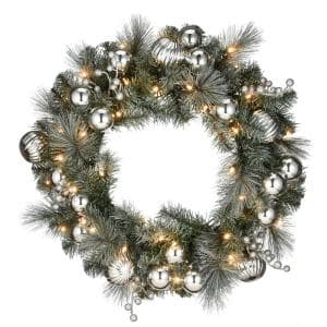 30 in. Frosted Silver Pine Wreath with 100 Warm White Battery Operated LED Lights with Timer