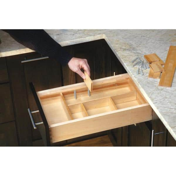 13 7//8 in W x 21 1//2 in L Wood Pull Out Drawer Organizer for cabinet