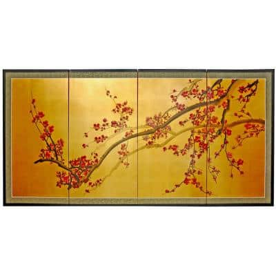 "36 in. x 72 in. ""Plum Tree on Gold Leaf Silk Screen"" Wall Art"