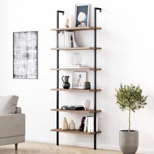 Theo 85 in. Matte Black Reclaimed Oak Wood 6-Shelf Wall Mount Ladder Bookcase with Matte Black Metal Frame